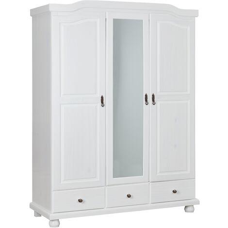 armoire en pin massif blanc de 3 portes et 3 tiroirs dim p56 x l150 x h198 cm pegane
