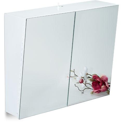 Armoire Toilette Miroir 2 Portes Meuble Salle De Bain Placard Mural Prise Courant Acier Hlp 50x60x18 Cm Blanc 7100246267861