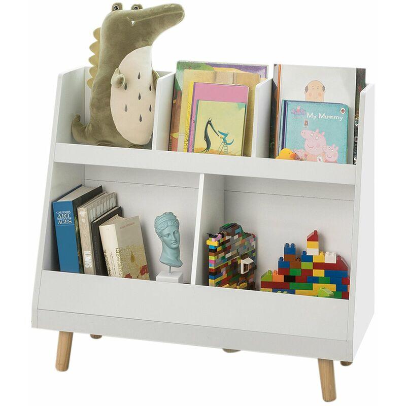 bibliotheque etagere a livres enfants etagere de rangement jouets pour enfants porte revues 5 compartiments ouverts sobuy kmb19 w