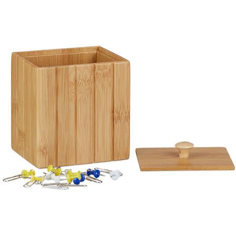 boite de rangement bambou couvercle boite en bois rangement cuisine bijoux hxlxp 11 5 x 10 x 8 cm nature