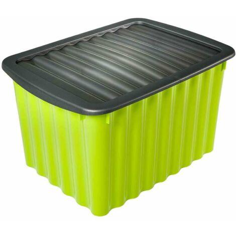 boite de rangement verte 28l avec couvercle