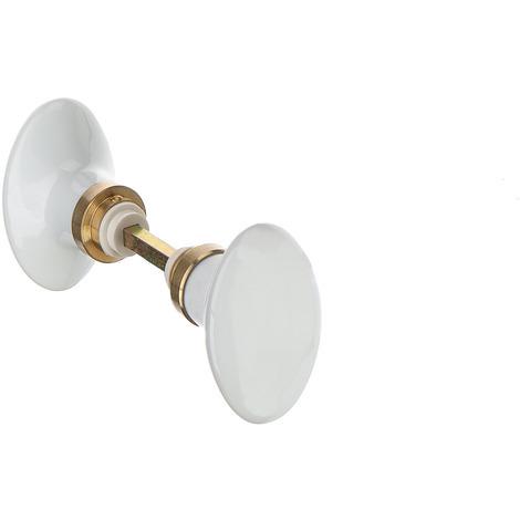 bouton double ovale en porcelaine blanche