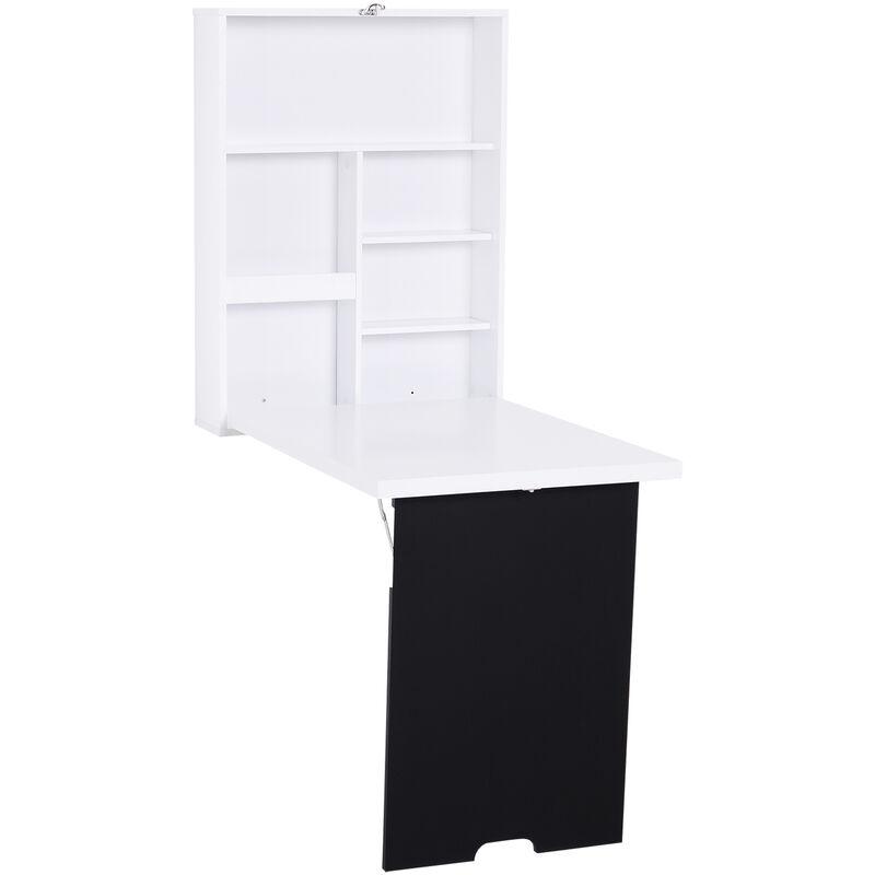 bureau mural pliable table murale rabattable suspendue sur pied etagere tableau a craie integre mdf blanc