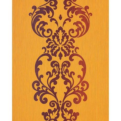 Carta Da Parati Barocco Moderno In Giallo Arancione Marrone Edem 178 21