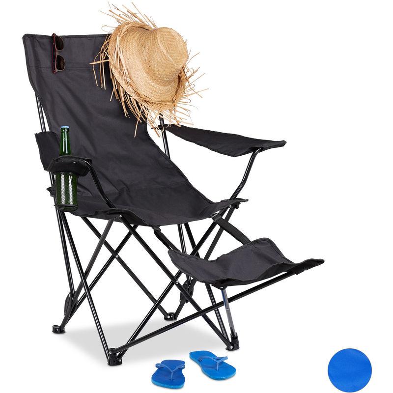 chaise de camping pliante repose pieds porte boissons 120 kg fauteuil pliable peche noir