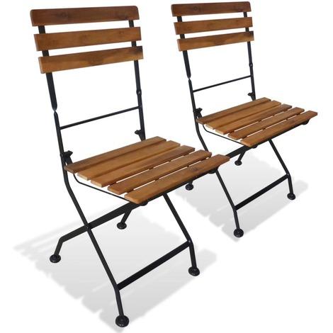 chaise pliable de jardin 2 pcs bois d