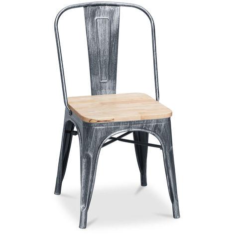 chaise bois et metal industriel a prix mini