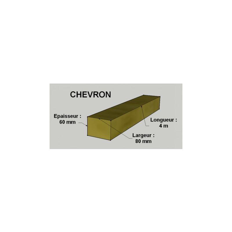Chevron 60x80mm Sapin Epicea Brut Traite Classe 2 Jaune 4m A 000000 02104
