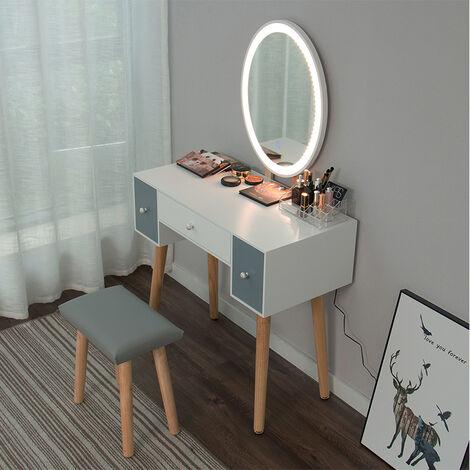 Coiffeuse Led Lumiere Dimmable Table De Maquillage Avec Miroir Et Tabouret Table De Maquillage Avec 3 Tiroirs Blanc Miroir Ovale De Hw1154