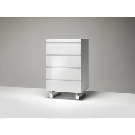 commode coloris laque blanc brillant avec 4 tiroirs l56 x h93 x p42 cm pegane