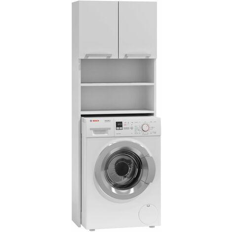 como meuble pour machine a laver 64x183x30 rangement buanderie lave linge salle de bain avec placard blanc blanc
