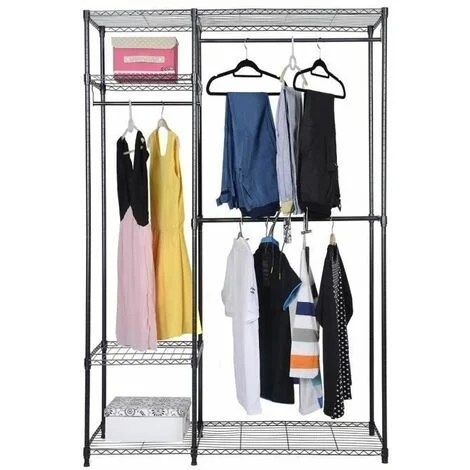 costway armoire de rangement avec structure en metal avec 3 barres et 3 etageres robuste penderie locker pliant linge reglable