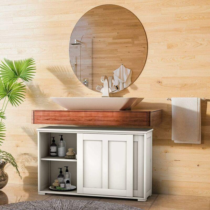 costway buffet bas contemporain bahut vaisselier laque 106 7x33x62 5cm blanc antique