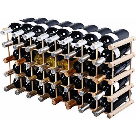 costway etagere a vin casier a vin porte bouteille en bois de pin massif support 40 bouteilles 102 5 x 24 x 33 cm bois naturel