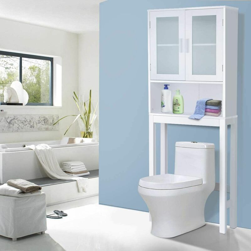 https www manomano fr p meuble dessus toilettes wc 2 portes armoire de toilette etagere de salle de bain 12115356