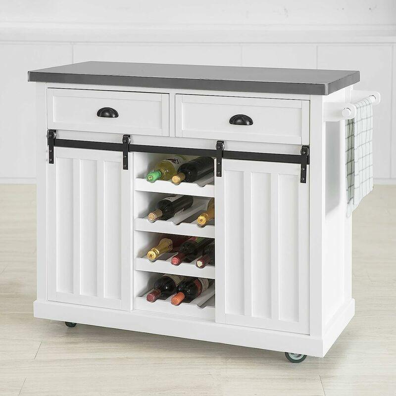desserte meuble de cuisine de service roulant desserte de cuisine avec plans de travail en acier inox de portes glissables sobuy fkw94 w