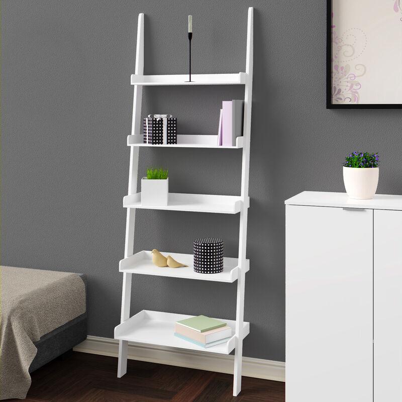 deuba etagere murale etagere echelle style echelle 180 cm meuble de rangement decoration 5 tablettes deco blanche