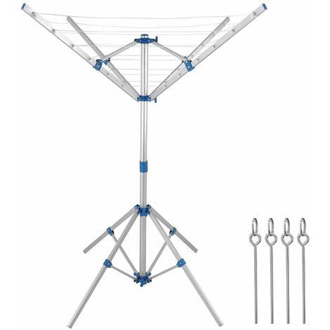 Deuba Sechoir A Linge Parapluie Etendoir A Linge Pliable Aluminium 4 Bras 4 Pieds Pliable Reglable Interieur Exterieur 100508