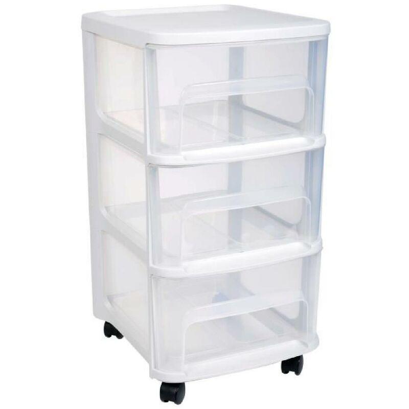 eda plastique tour de rangement city avec roulettes 3 tiroirs 32 x 37 x 61 cm blanc transparent