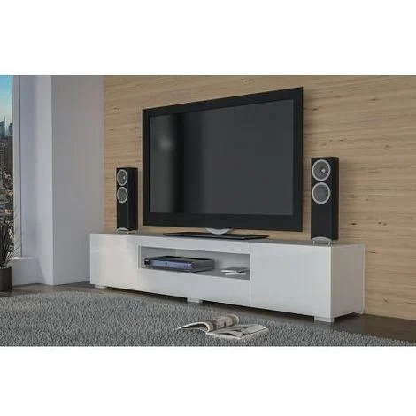 elba meuble bas tv contemporain gloss 200x40x36 salon sejour niche 3 portes rangement moderne materiel tele audio video gaming blanc brillant