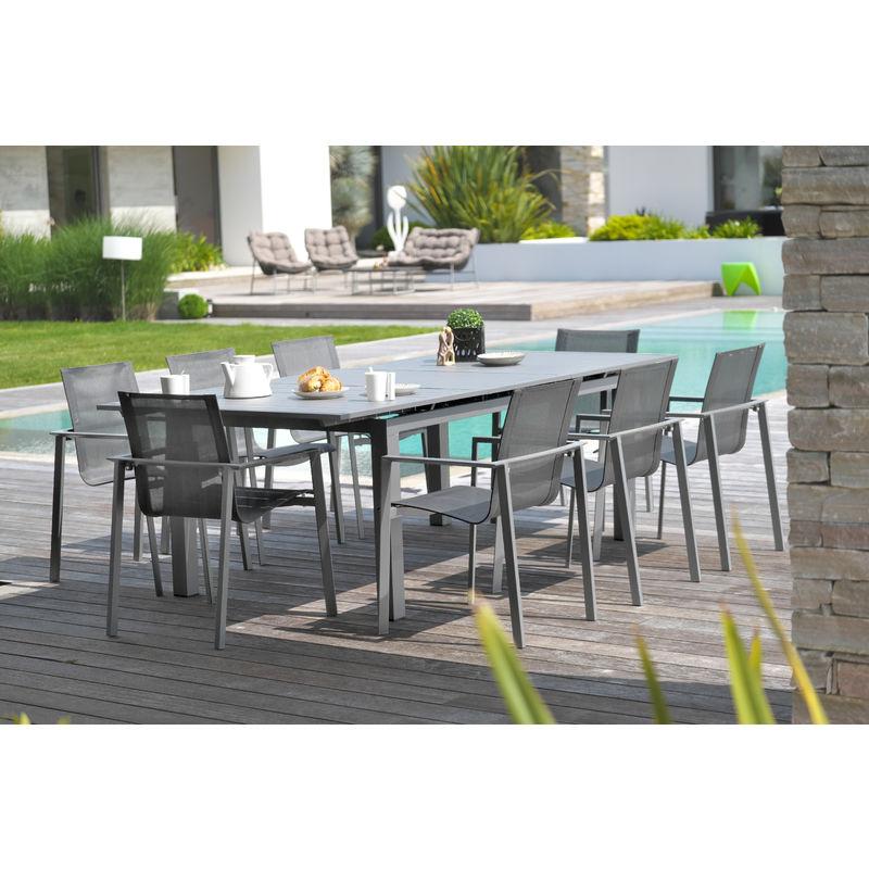 ensemble table de jardin rallonge automatique en aluminium 8 fauteuils en aluminium et textil