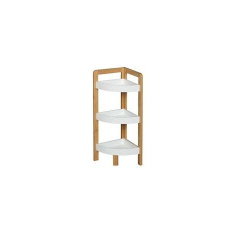 etagere d angle en bambou a 3 niveaux blanc meuble de rangement