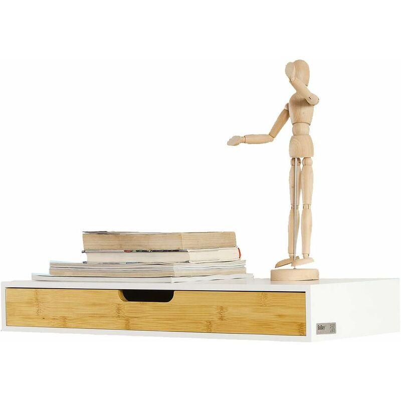 etagere murale avec tiroir en bois et bambou armoire a cles porte cles meuble d entree de rangement l60xp24xh8cm frg93 wn sobuy