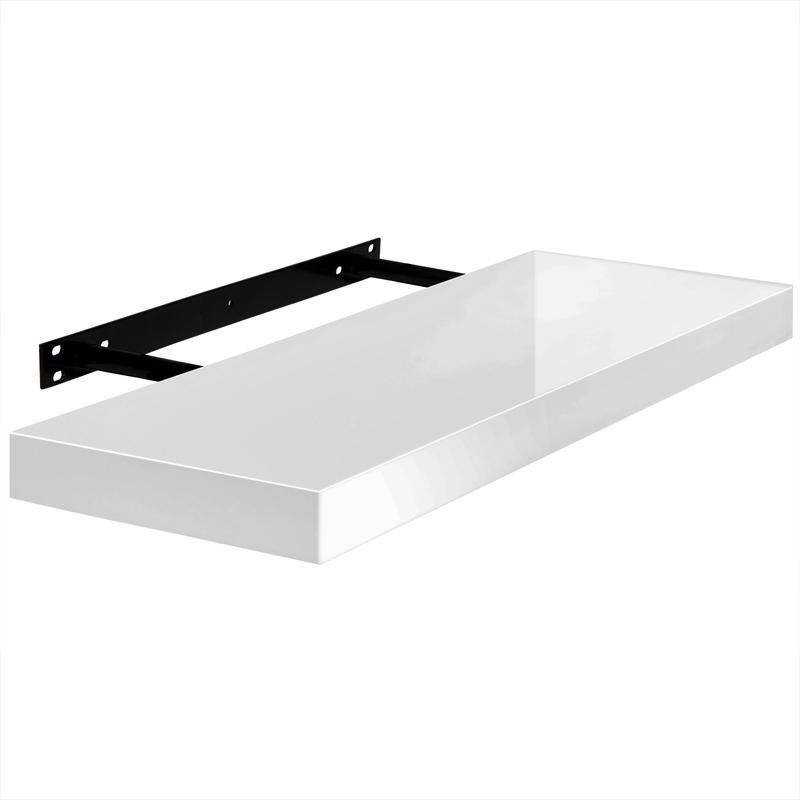 etagere murale blanc laque fixation rapide 15kg max rangement livre deco