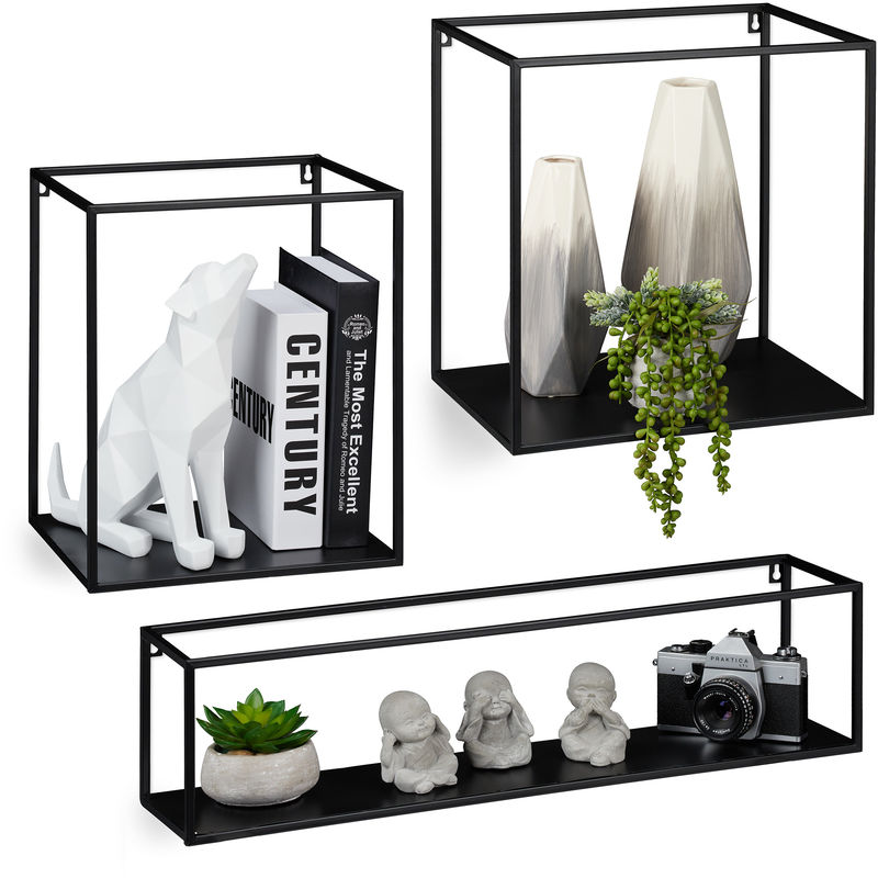 etagere murale cube metal lot de 3 plateau flottant carre design moderne deco differentes tailles noir