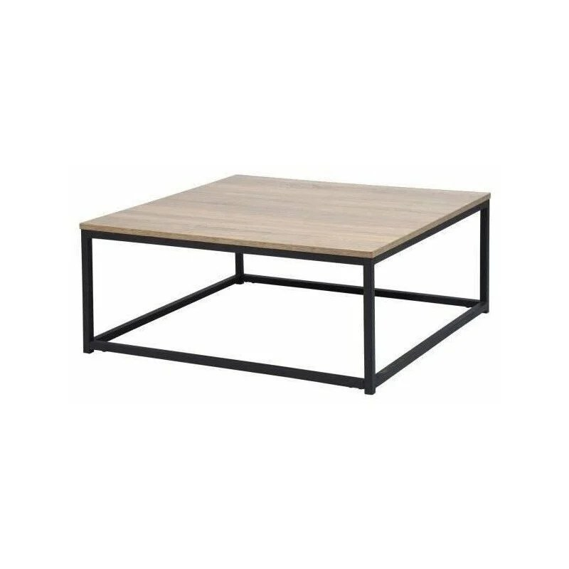 facto table basse carre chene decor chene et noir l 80 x p 80 x h 34 cm