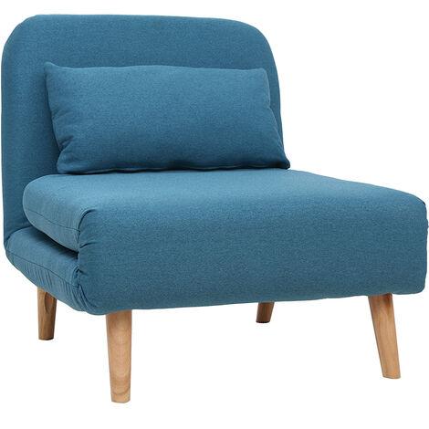 fauteuil scandinave en tissu bleu