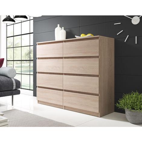 furnix commode salon meuble de rangement woody 120 cm chene sonoma 8 tiroirs style moderne style classique