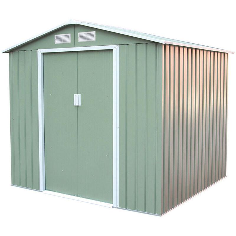gardiun abri de jardin en metal sunderland 4 07 m exterieur 213 cm x 191 cm x 195 cm acier galvanise vert clair