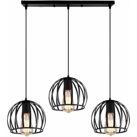 Idegu Suspension Luminaire Industrielle Design Forme Cage Metal Lustre Abat Jour 3 Lampes Pour Salon Chambre Salle A Manger E27 Noir Sans Ampoule Goofrzmd125