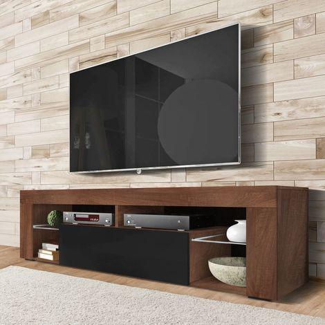 selsey bianko meuble tv banc tv 140 cm noyer mat noir brillant sans led