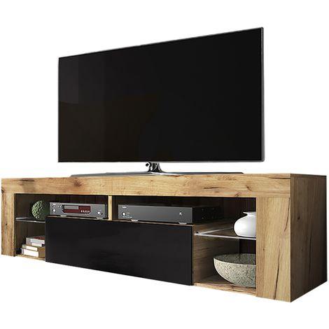 selsey bianko meuble tv banc tv chene lancaster noir brillant 140 cm sans led