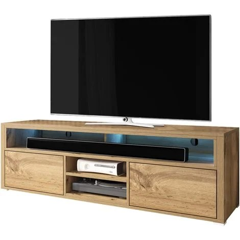 selsey mario meuble tv banc tv chene wotan 137 cm avec led
