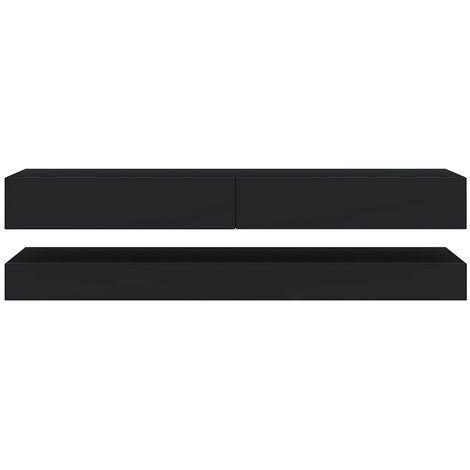 selsey hylia meuble tv suspendu meuble de salon mural noir mat noir brillant 140 cm