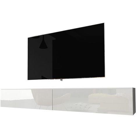 selsey kane meuble tv a suspendre banc tv blanc mat blanc brillant 180 cm sans led