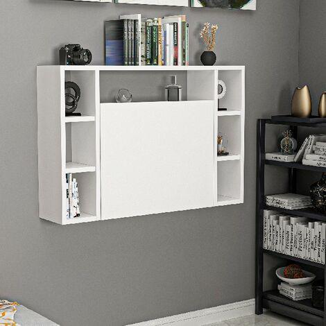 bureau omega pliante murale compacte avec bibliotheque integree avec etageres pour bureau chambre blanc en bois 90 x 19 5 x 60 cm