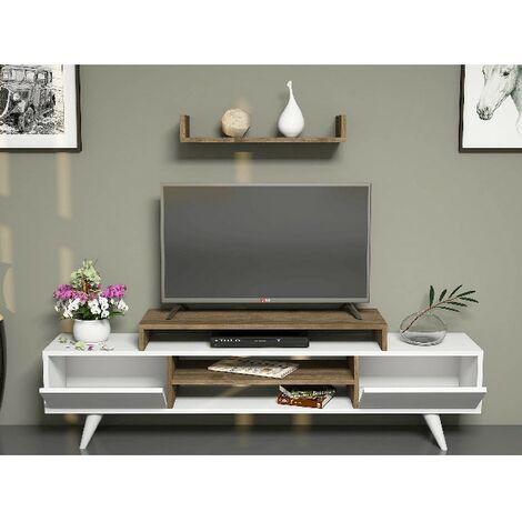 meuble tv melis moderne murale avec portes etageres pour salon blanc noyer en bois 160 x 29 7 x 38 6 cm