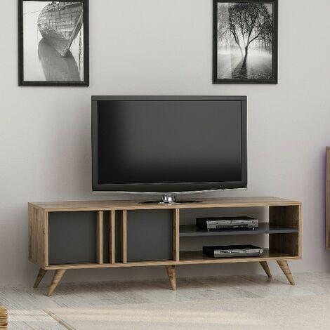 meuble tv rilla moderne avec portes etageres pour salon noyer anthracite en bois 150 x 35 x 48 cm