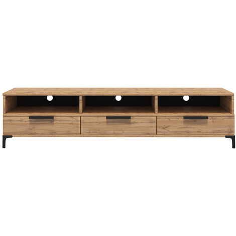 selsey rikke tv lowboard tv tisch mit 3 offenen fachern klappen und metallfussen 160 cm breit wotan eiche matt ohne led