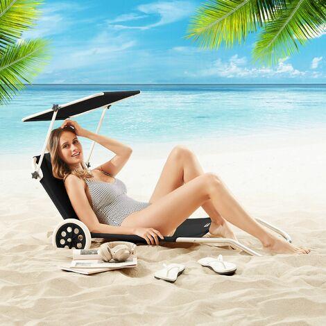 chaise longue crete bain de soleil plage en aluminium couleur au choix anthracite antracita