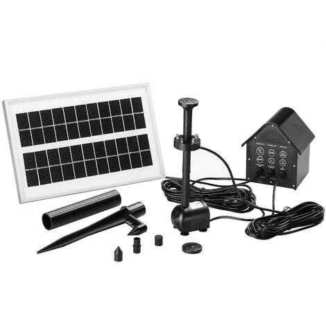 fontaine solaire panneau solaire pompe 160l h 4 diffuseurs jardin bassin marre led multicolore incluse