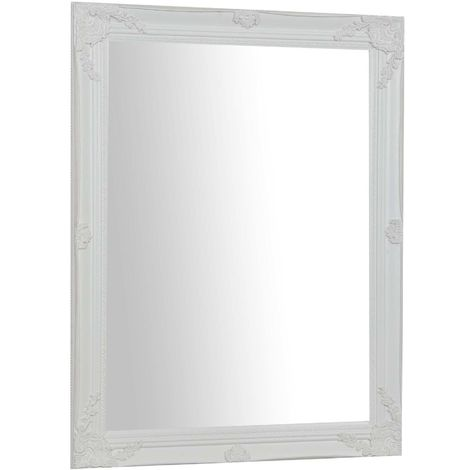 miroir mural a accrocher vertical horizontal l62xpr3xh82 cm finition blanc antique