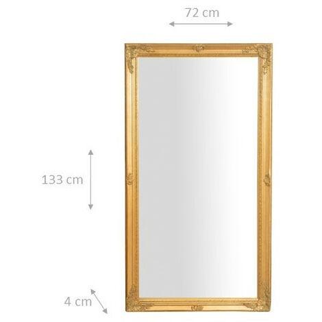 miroir mural a accrocher suspendu vertical horizontal l72xpr3xh132 cm finition or antique