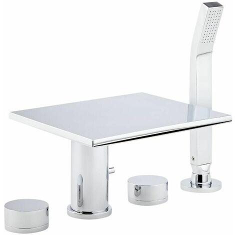 robinet cascade pour baignoire avec douchette moderne design chrome