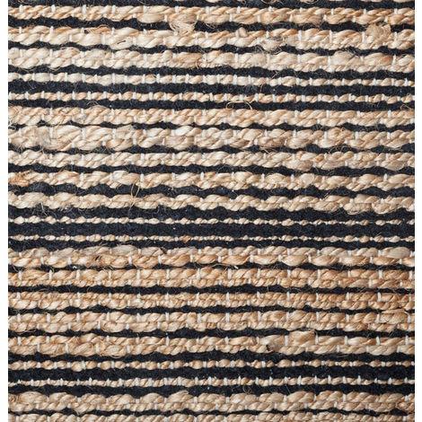 tapis rectangulaire en jute et coton coloris noir naturel dim l 140 x l 70 cm