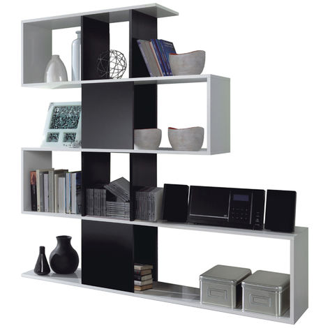 bibliotheque avec 4 etageres coloris blanc brillant noir brillant en melamine dim 145 x 145 x 29 cm pegane